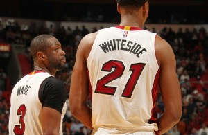 Dwyane Wade and Hassan Whiteside
