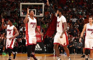 Josh Richardson, Hassan Whiteside, James Johnson, Goran Dragic