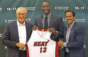 Pat Riley, Bam Adebayo, and Erik Spoelstra