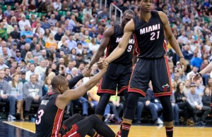 Hassan Whiteside and Dwyane Wade