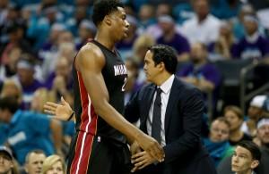 Hassan Whiteside and Erik Spoelstra Miami Heat