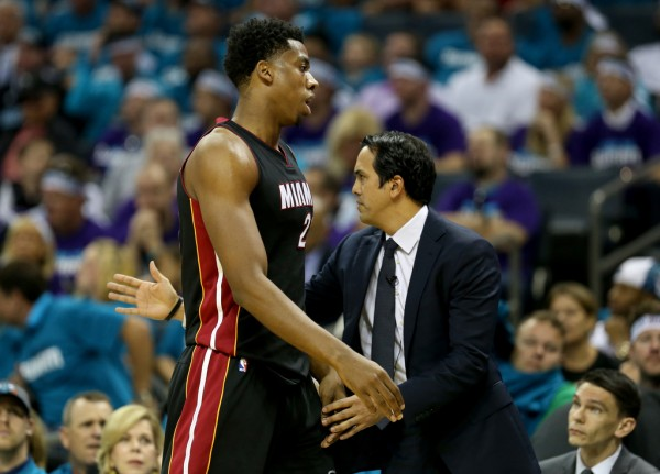 Hassan Whiteside and Erik Spoelstra Miami Heat