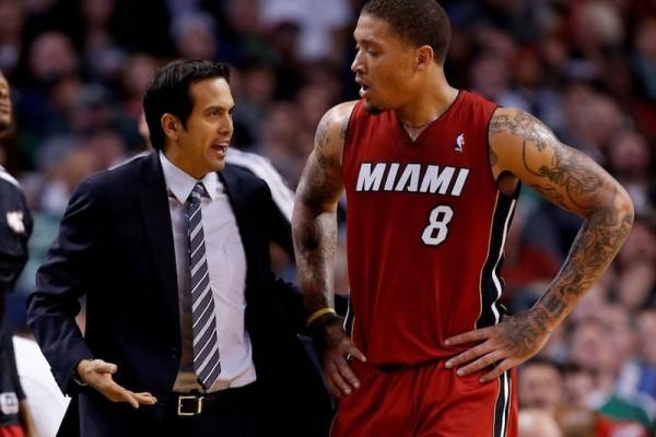 Erik Spoelstra and Michael Beasley Miami Heat