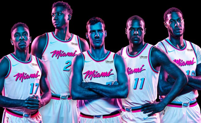 sale retailer e0f4a c0816 First Look: Miami Heat Officially Unveil Vice-Themed Uniforms