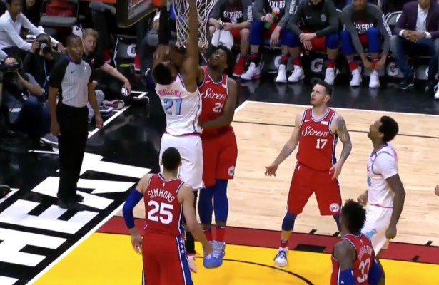 Hassan Whiteside and Joel Embiid Dunk