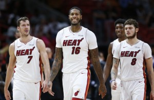 Goran Dragic, Tyler Johnson, James Johnson, and Josh Richardson