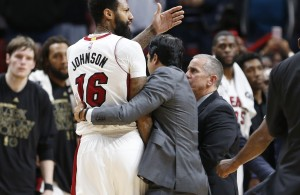 James Johnson and Erik Spoelstra Miami Heat