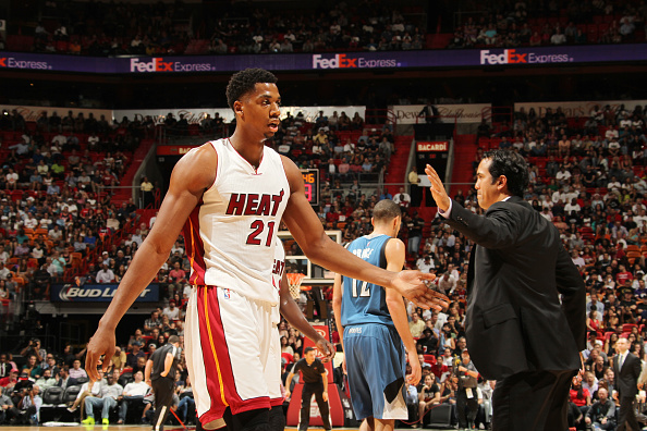 Erik Spoelstra and Hassan Whiteside
