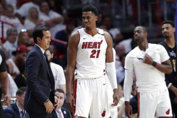 Hassan Whiteside and Erik Spoelstra