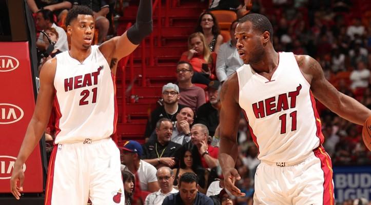 Hassan Whiteside and Dion Waiters Miami Heat