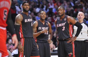 LeBron James, Mario Chalmers, and Dwyane Wade