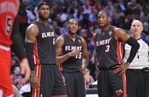 LeBron James, Mario Chalmers, and Dwyane Wade