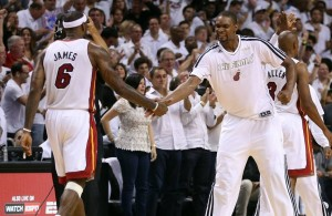 LeBron James and Chris Bosh Miami Heat