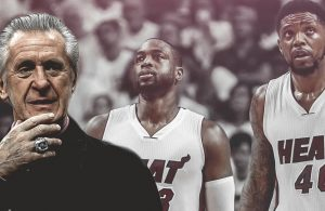 Pat Riley, Dwyane Wade, and Udonis Haslem