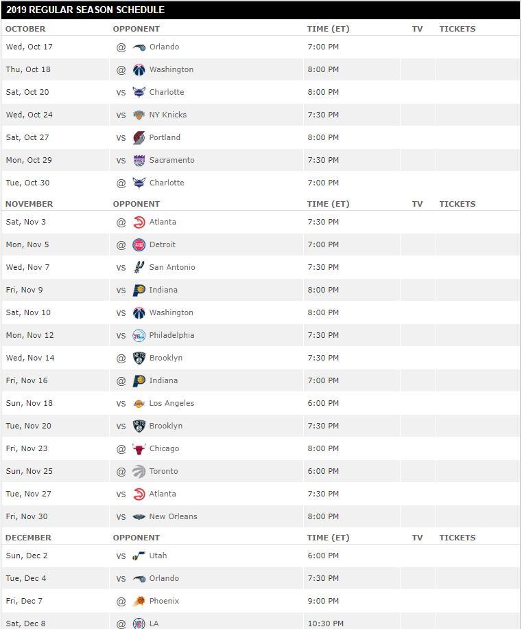 Miami Heat Schedule for 2018-19 Season