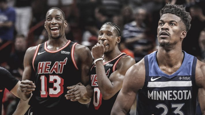 Bam Adebayo, Josh Richardson, and Jimmy Butler