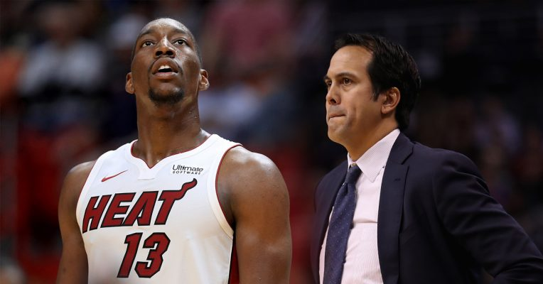 Bam Adebayo and Erik Spoelstra Miami Heat