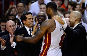 Erik Spoelstra and LeBron James Miami Heat