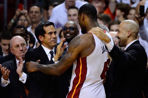 Erik Spoelstra and LeBron James Miami Heat