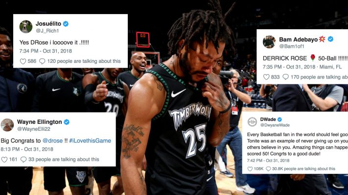 Miami Heat players react to Derrick Rose