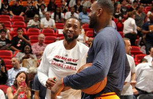 Dwyane Wade and LeBron James Laughing