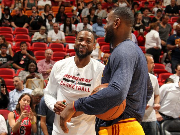 Dwyane Wade and LeBron James Laughing