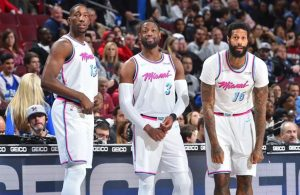 Bam Adebayo, Dwyane Wade, and James Johnson