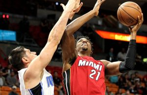 Hassan Whiteside and Nikola Vucevic Miami Heat