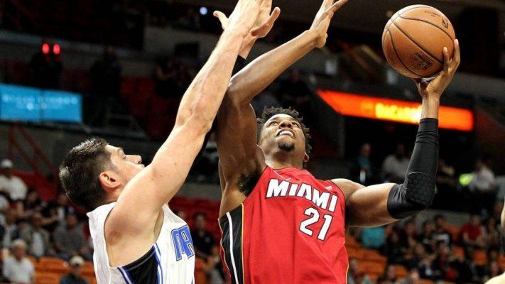 Hassan Whiteside and Nikola Vucevic Miami Heat