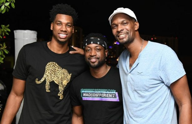 Hassan Whiteside, Dwyane Wade, and Chris Bosh