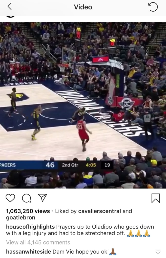 Hassan Whiteside and Victor Oladipo Instagram