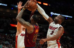 Dwyane Wade blocking LeBron James
