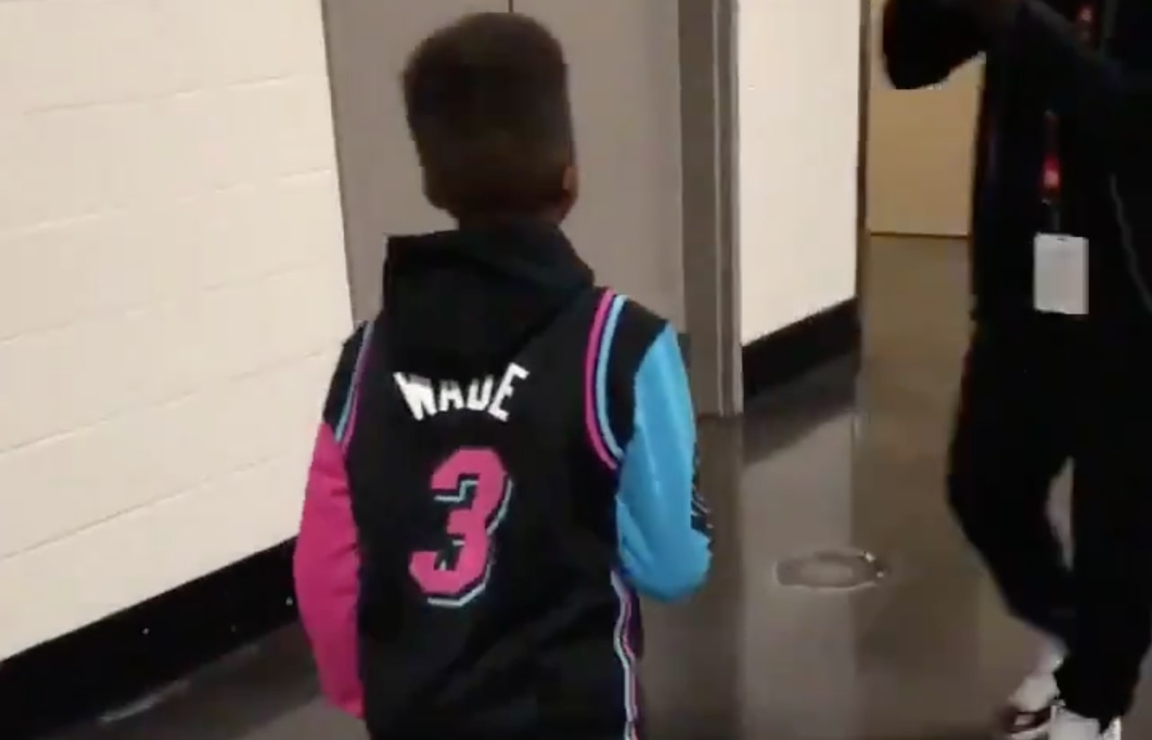 super popular da45b 8cee6 Video: Chris Paul and His Son Arrive in Dwyane Wade Gear for ...