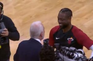 Dwyane Wade and Gregg Popovich