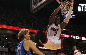 Dwyane Wade dunking on Dirk Nowitzki