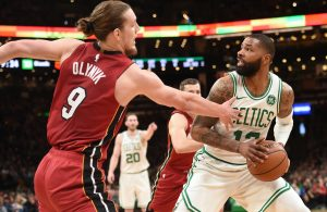 Kelly Olynyk and Marcus Morris Miami Heat Boston Celtics
