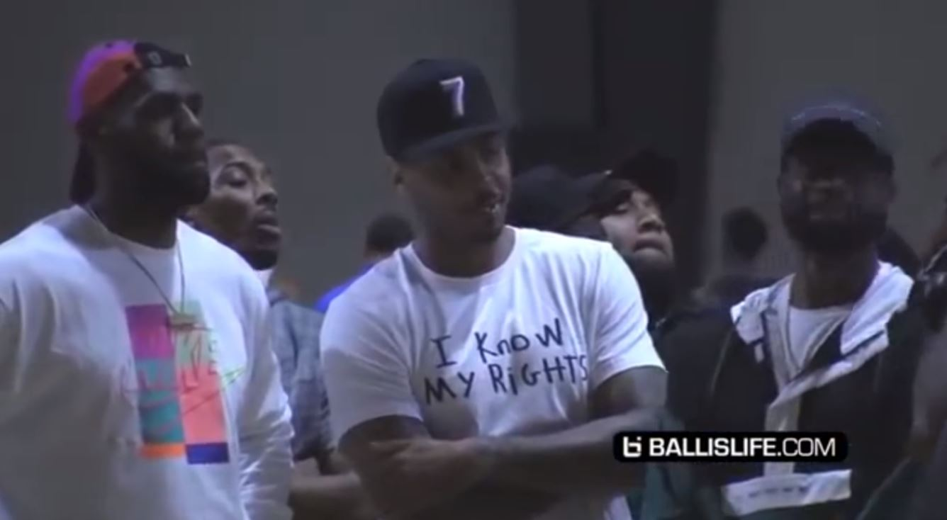 968cc7880bb67 LeBron James, Dwyane Wade, and Carmelo Anthony Pull Up to Watch ...
