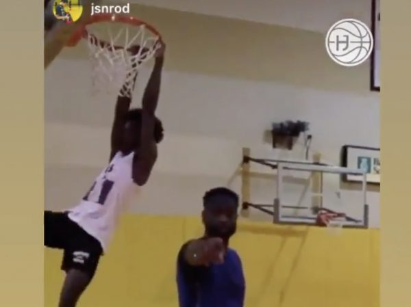 Dwyane Wade and Zaire Wade Have Dunk-Off in Gym