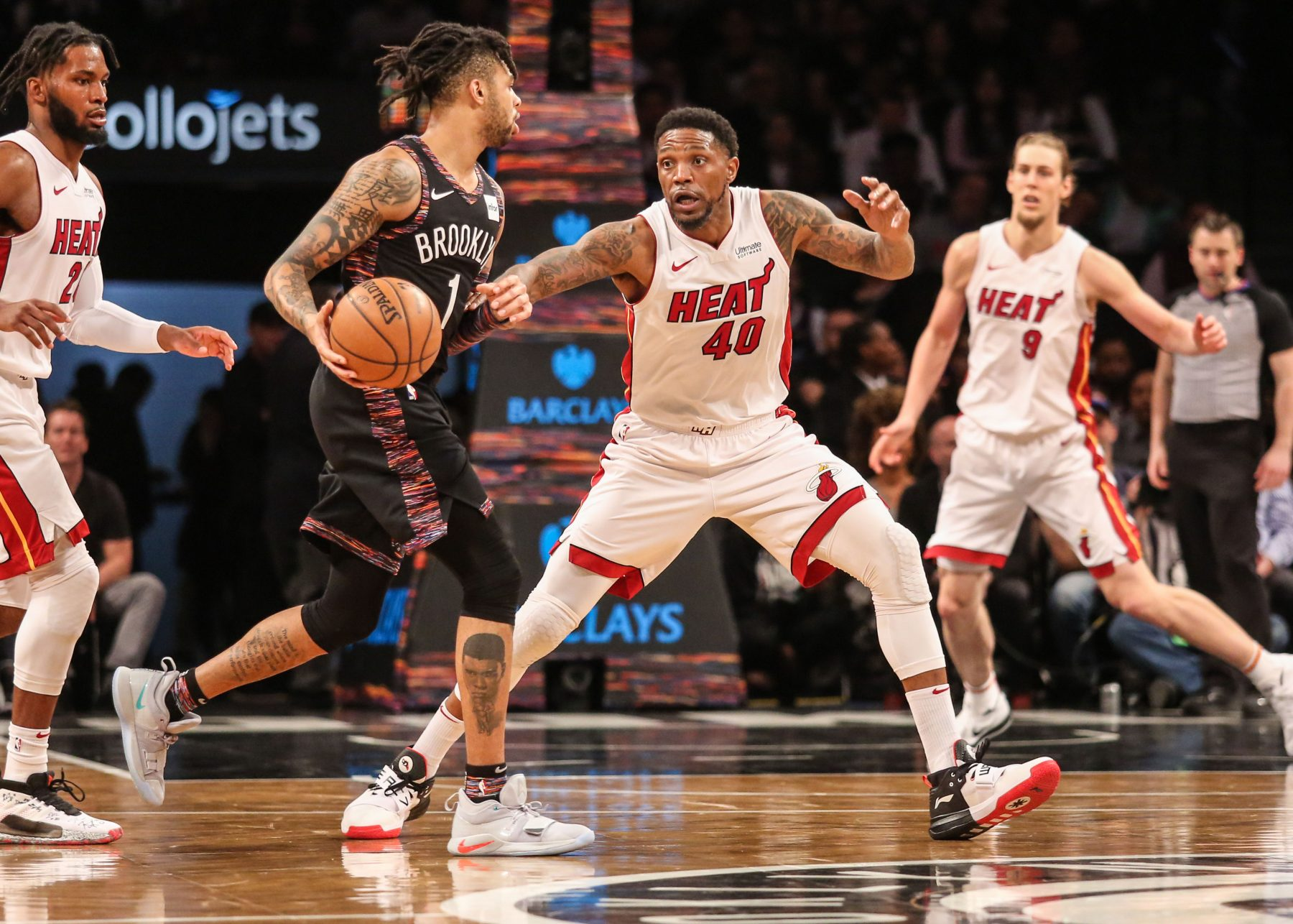 Udonis Haslem, D'Angelo Russell, and Justise Wislow