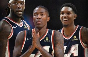 Montrezl Harrell, Jamal Crawford and Lou Williams