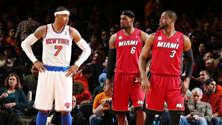Carmelo Anthony, LeBron James, and Dwyane Wade