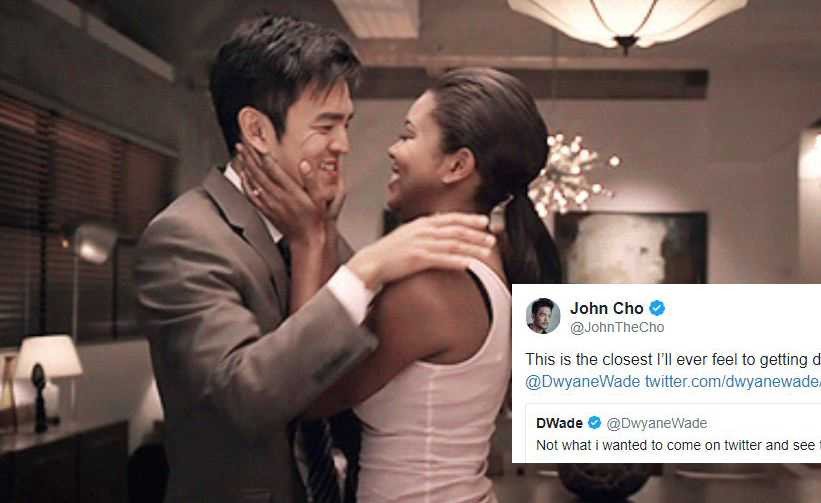 John Cho Hilariously Responds to Dwyane Wade After Kissing His Wife