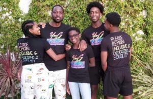 Gabrielle Union, Dwyane Wade, Zion Wade, and Zaire Wade