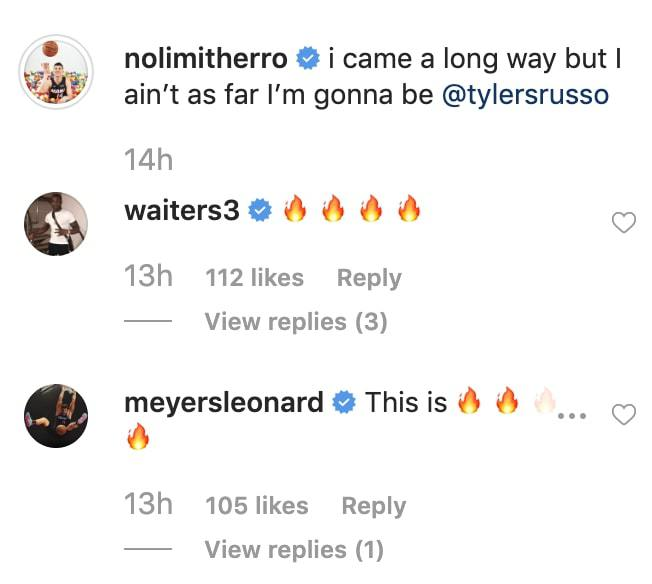Tyler Herro, Dion Waiters, and Meyers Leonard