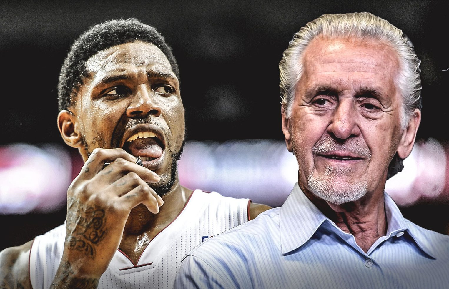 Udonis Haslem and Pat Riley