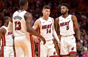 Tyler Herro, Bam Adebayo and Derrick Jones Jr.