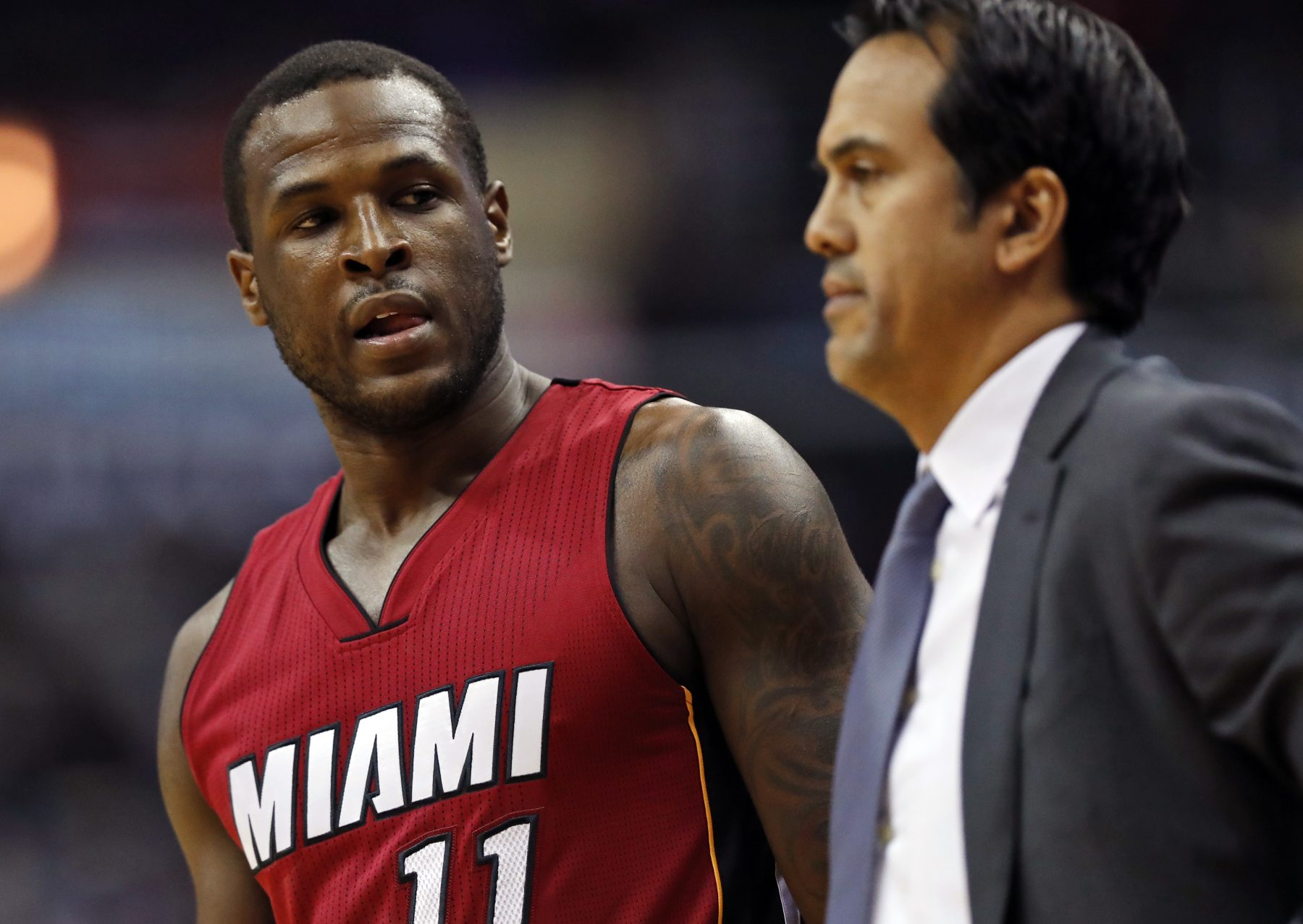 Dion Waiters and Erik Spoelstra