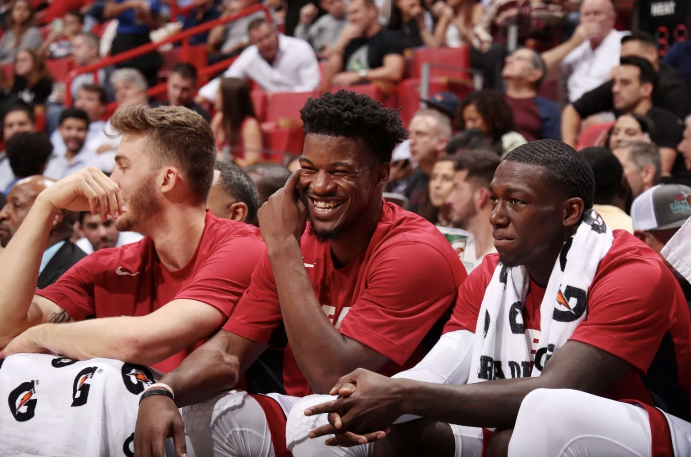 Jimmy Butler, Kendrick Nunn and Meyers Leonard