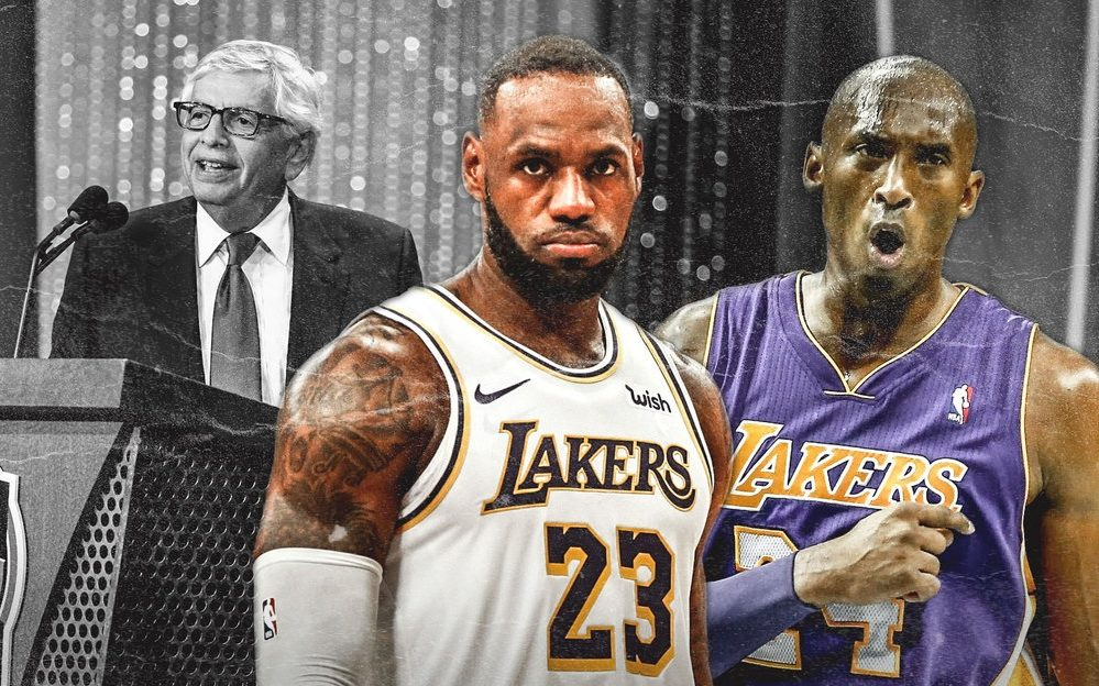 David Stern, LeBron James and Kobe Bryant