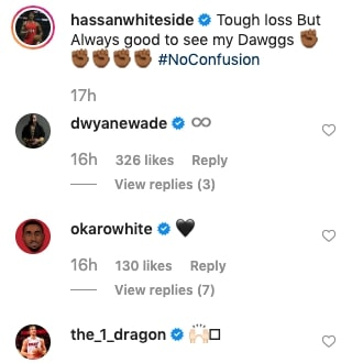 Hassan Whiteside, Goran Dragic and Dwyane Wade